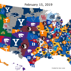 College Basketball Imperialism Map (February 15, 2019)