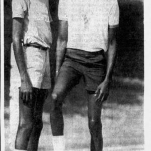 1983 newspaper clipping highlighting Clemson University's twin basketball stars Harvey and Horace Grant. Both would go on to have lengthy NBA careers.