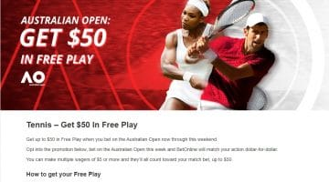 Australian Open Tennis – Get $50 In Free Play