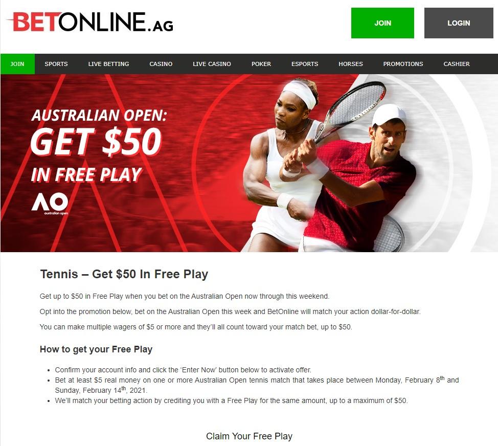 Australian Open Tennis – Get $50 In Free Play