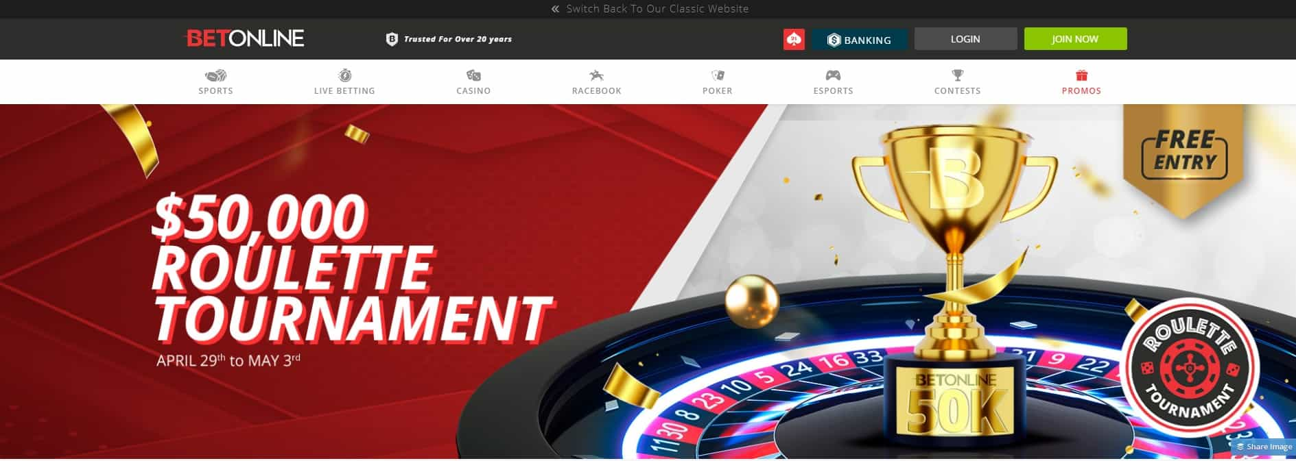 NEW $50,000, FREE entry Roulette Tournament